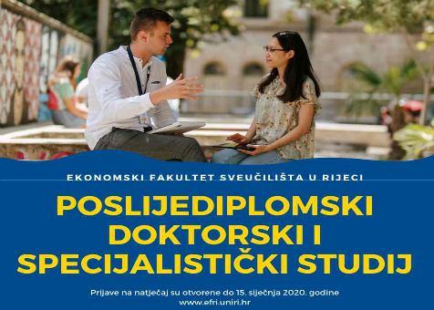 Otvoren je natječaj za poslijediplomske specijalističke studije