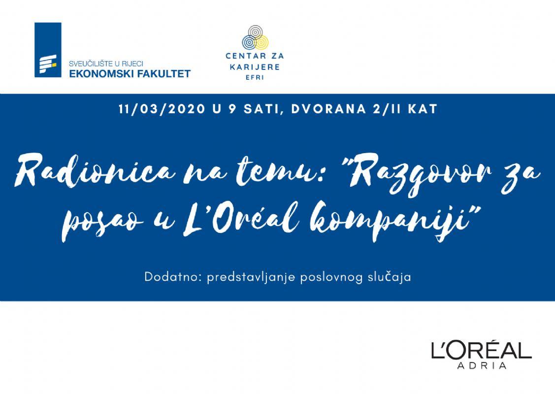 Kompanija L'Oréal - radionica i predstavljanje case study natjecanja