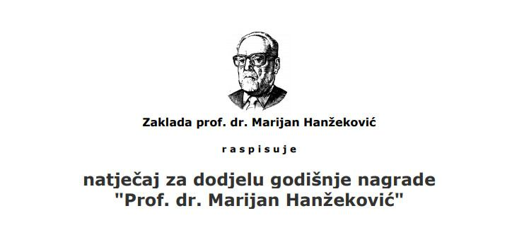 Annual award of the Prof. Dr. Marijan Hanžeković